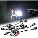 RaThun High Power Error Free H8 40W Cree LED Angel Eyes Halo Ring LED Headlights for BMW E60 E61 E63 E70 E71 E87 E89 E90 E92 E93 Car Daytime Running Lights (White)