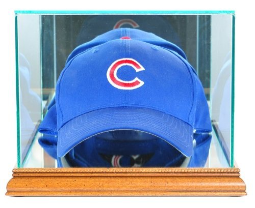 Cap Hat Case Display (Baseball Cap / Hat Display Case with Glass Top and Walnut Wood Base)