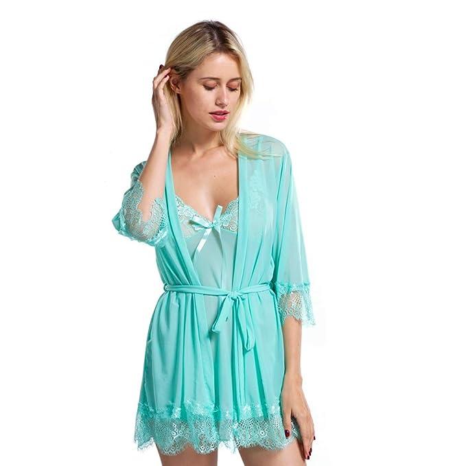 523de85a0ca VIPEX Women 3-Piece Sexy Lingerie Set Lace Sleepwear Enticing Nightwear  Green