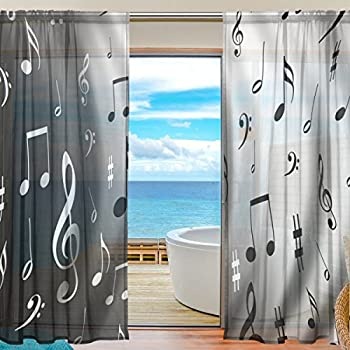 WOZO Black White Music Note Window Sheer Curtain Panels 55