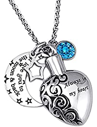 """Cremation Urn """"Aways in My Heart"""" I Love You to the Moon and Back Memorial Ash Holder Pendant Necklace"""