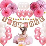 1st birthday Girl DecorationsΠnk Theme Kit Set-Baby Girl 1st Birthday Party Hat Princess Tiara Crown,Cake Topper -'One'+'Stars'Banner'+Pink and white balloons and Fiesta Pink Hanging Paper Fan Flower