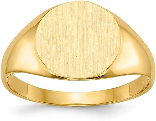 6 14k White Gold Signet Ring Solid Back 14 kt White Gold Size