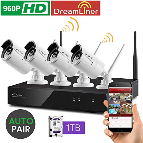 [Dream Liner WiFi Booster] xmartO WOS1344-1TB 4 Channel 960p HD Wireless Security Camera System with 4 HD Outdoor Wireless IP Cameras and 1TB Hard Drive (Auto-Pair, Built-in Router, 1.3MP Camera)