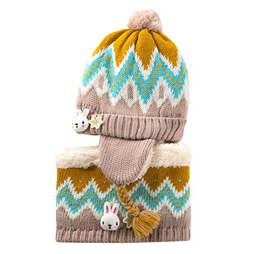 Kids Beanie Hat Scarf Set Winter Warm Knit Hat with EarmuffsThick Knitted Skull Cap Circle Scarf for Baby Girls Boys,Yellow,L