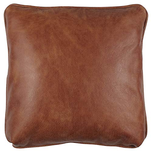 Stone Beam Rustic 100 Top Grain Leather Decorative Throw Pillow, Badlands Saddle