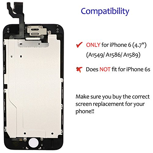 Screen Replacement For i 6 Black, Fully Pre-Assembled LCD Display and Touch Screen Digitizer Replacement for A1549/A1586/A1589, Including Repair Tools by Tizore (Image #5)