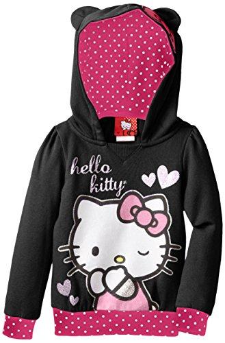 Hello Kitty Little Girls' Bow On Hood Of Fleece Pullover Hood, Anthracite, 2T