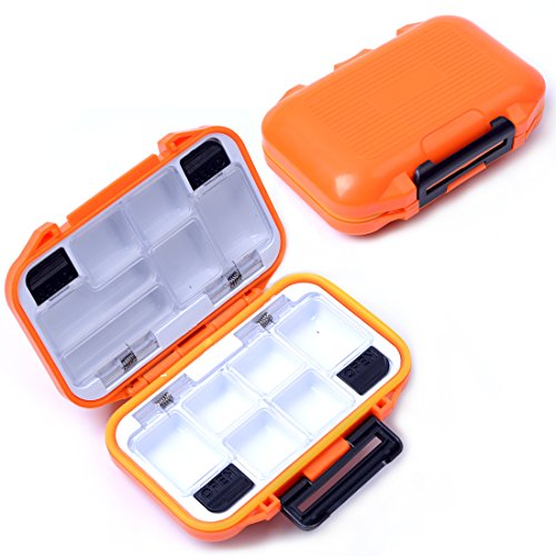 Agepoch Waterproof Fly Fishing Tackle Box Storage Box Fishing Lure Plastic Boxes for Bait Casting Fishing (Small/Orange)