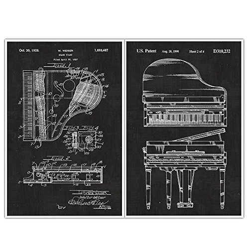Piano, Patent Prints, Blueprint Poster - set of 2 Musical Instrument posters
