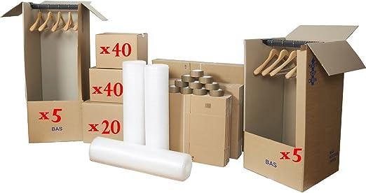 Pack Cajas De Cartón gigante: 40 Cartones libros + 40 Cartones vaisselles + 20 unidades ropa + 10 cartones prenderie + 3 rollos plastibulles + 10 rollos adhesivos ...