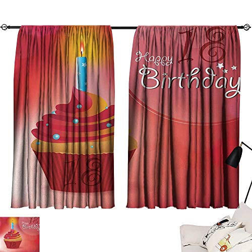 Jinguizi 18th Birthday Bedroom/Living Sweet Eighteen Party Birthday Cupcake with Candles Artwork Print Insulating Darkening Curtains Hot Pink Red and Orange W55 x L39 by Jinguizi (Image #6)