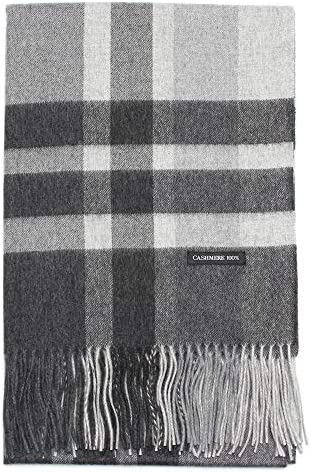 BUYER CH60a 100% Pure Cashmere Checkered Stole All 19 Patterns ~ [Men's and Women] Cashmere Plaid Pattern Thick Large Stole