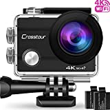 Crosstour Action Camera 4K Wifi Ultra HD Underwater Cam 98ft 2' LCD 170° Wide angle with 2 Rechargeable 1050mAh Batteries and Accessory Kits for Cycling Swimming Snorkeling