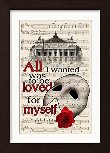The Phantom Of The Opera With Paris Opera House Mounted / Matted Ready To Frame Dictionary Art - Phantom Frame