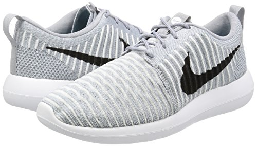 Nike-Mens-Roshe-Two-Flyknit-Wolf-GreyBlack-White-Fabric-Size-9