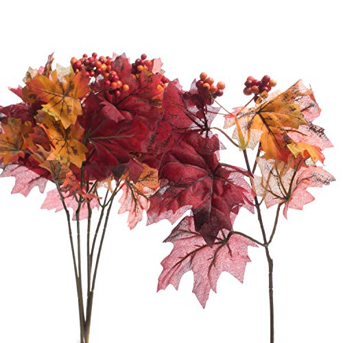 - Factory Direct Craft Fall Artificial Silk Maple Leaf Picks with Fall Berry Cluster Accent - 12 Picks