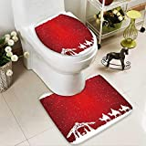 Analisahome U-Shaped Toilet Mat christian christmas scene on red background illustration 2 Pieces Microfiber Soft