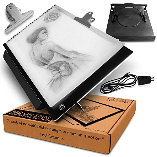 A4 LED Lightbox for Drawing Board with Rotating Multi-Function Adjustable Stand to Suit A3/A4 pad with Free Animation Tracing Paper (10pk) and Clip by Ubora Artistics