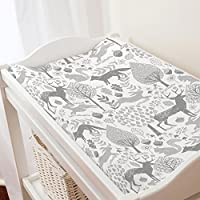 Carousel Designs Gray Woodland Animals Changing Pad Cover - Organic 100% Cott...