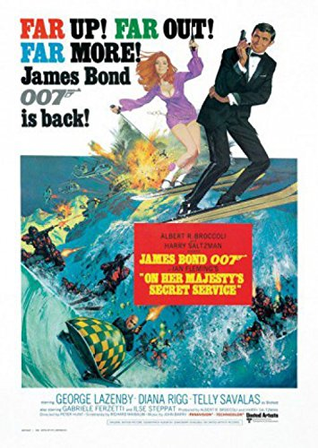 1art1 Set: James Bond 007, On Her Majesty's Secret Service Postcard (6x4 inches) and 1x Surprise Sticker