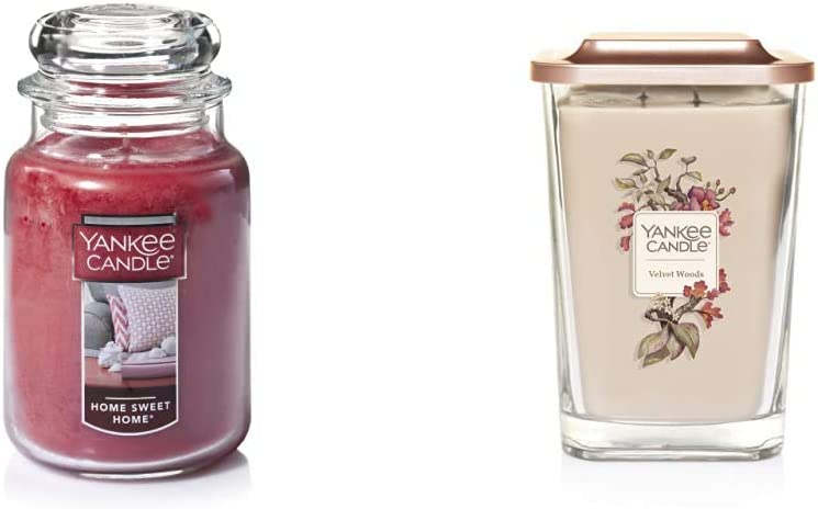 Yankee Candle Large Jar Candle Home Sweet Home & Elevation Collection with Platform Lid Velvet Woods Scented Candle, Large 2-Wick, 80 Hour Burn Time