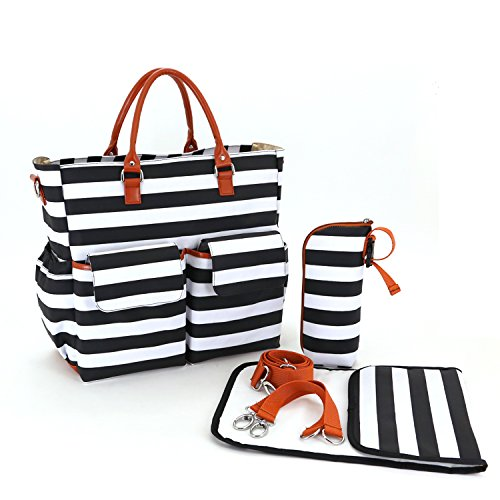 Cambiador bolso cambiador–cambiador impermeable incluida negro Black+White Black+White