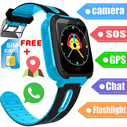 Kidaily Kids Smart Watch Phone with SIM Card - Smartwatch GPS Tracker for Ages 3-12 Boys Girls GPS Watch Activity Tracking SOS Camera Alarm Clock Flashlight Smart Bracelet Learning Toy Birthday Gift