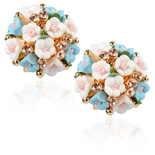 Shining Diva Fashion AAA Quality Latest Floral Gold Plated Stud Earrings For Women & Girls