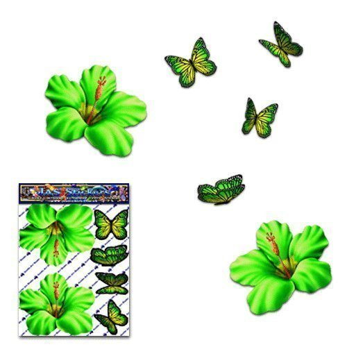 Hibiscus Flower Small Green + Butterfly Animal Pack Car Stickers Decals - ST00023GR_SML