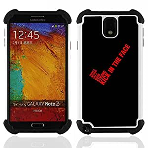 Dragon Case- Dise?¡Ào de doble capa pata de cabra Tuff Impacto Armor h??brido de goma suave de silicona cubierta d FOR Samsung Galaxy Note3 N9000 N9008V N9009- BLACK YES RED KICK TEXT QUOTE BLOOD