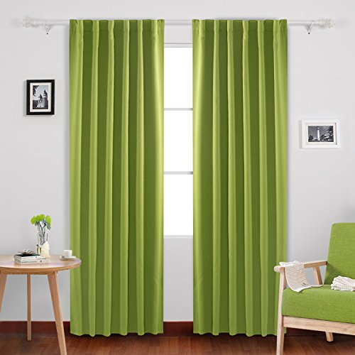 Deconovo Room Darkening Blinds Thermal Insulated Blackout Shades Back Tab and Rod Pocket Blackout Curtains for Windows 52x84 Inch Lime Green 1 Pair
