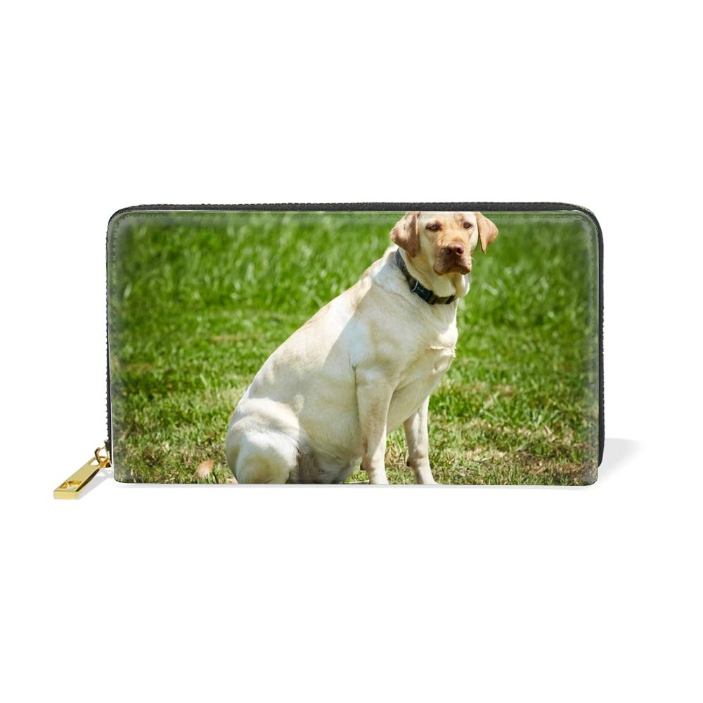 Womens The Labrador Retriever Real Leather Zip Around Wallet Clutch Large Travel Purse