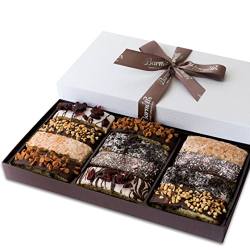Barnett's Gourmet Chocolate Biscotti Gift Basket, Christmas Holiday Him & Her Cookie Gifts, Prime Unique Corporate Men Women Valentines Mothers Fathers Day Baskets Thanksgiving Birthday Get Well Idea for $<!--$25.99-->