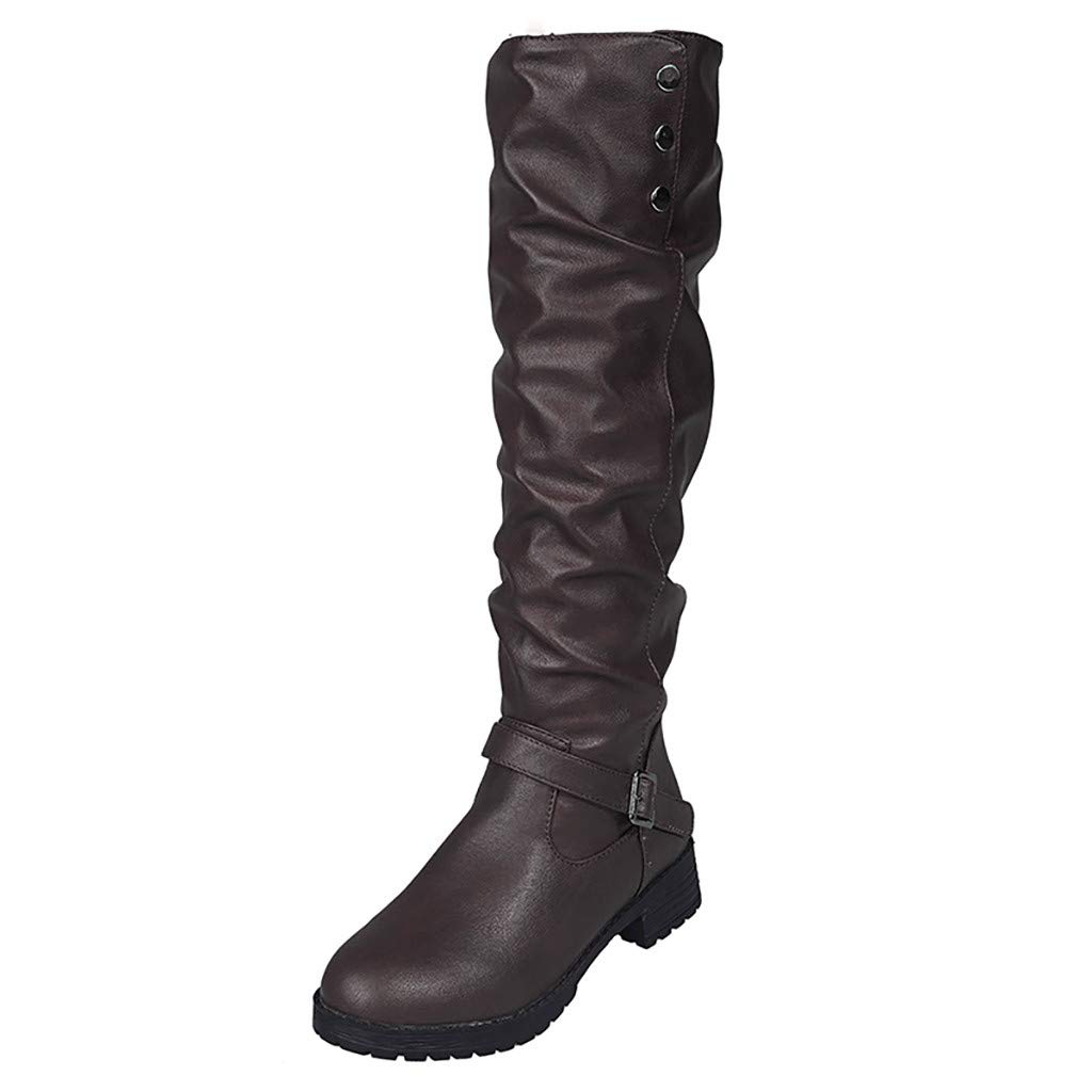 Pongfunsy Women Wide Calf Boots Women Fashion Buckle Flat Wedge Boots Military Combat Boots Long Tube Knight Boots Coffee by Pongfunsy