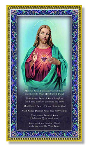 ((11 8/18) Sacred Heart of Jesus Fine Art Italian Plaque with Prayer 5