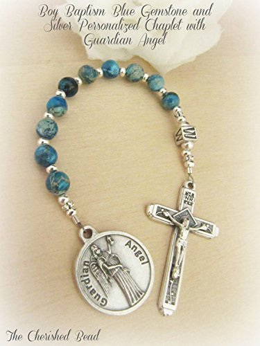 Boy Baptism Gemstone and Silver Personalized Chaplet with Guardian Angel Charm by The Cherished Bead