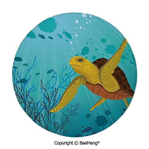 Diameter24 inch,Printing Round Rug,Mat Non-Slip Soft Entrance Mat Door Floor Rug Area Rug For Chair Living Room,Turtle,Cartoon Cute Animal Under the Sea Silhouettes of Fish Sun Rays Coral,Turquoise Mu
