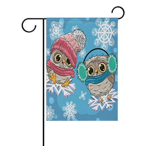 Naanle Cute Owls with Snowflake Double Sided Polyester Garde