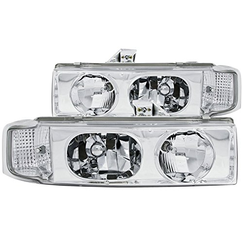- 1995-2005 Chevy Astro Gmc Safari Chrome Headlights + 8 Led Fog Bumper Light