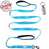 ENJOY PET Dog Leashes for Large Dogs Double Handles, 8 ft Extra Long Lead with Traffic Padded Handles, Heavy Duty Nylon Dog Training Leash (Bright Blue)