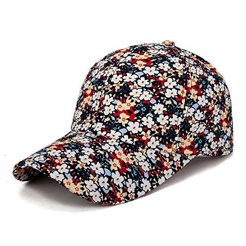 (2019 Small Floral Baseball Cap for Women Summer Beach Fashion Sun hat,Red1,Adjustable)