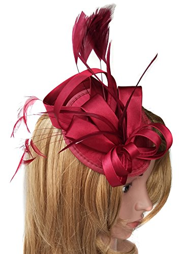 Fascinator Hats for Women Feather Cocktail Party Hats Bridal Kentucky Derby Headband (Satin Burgundy) ()
