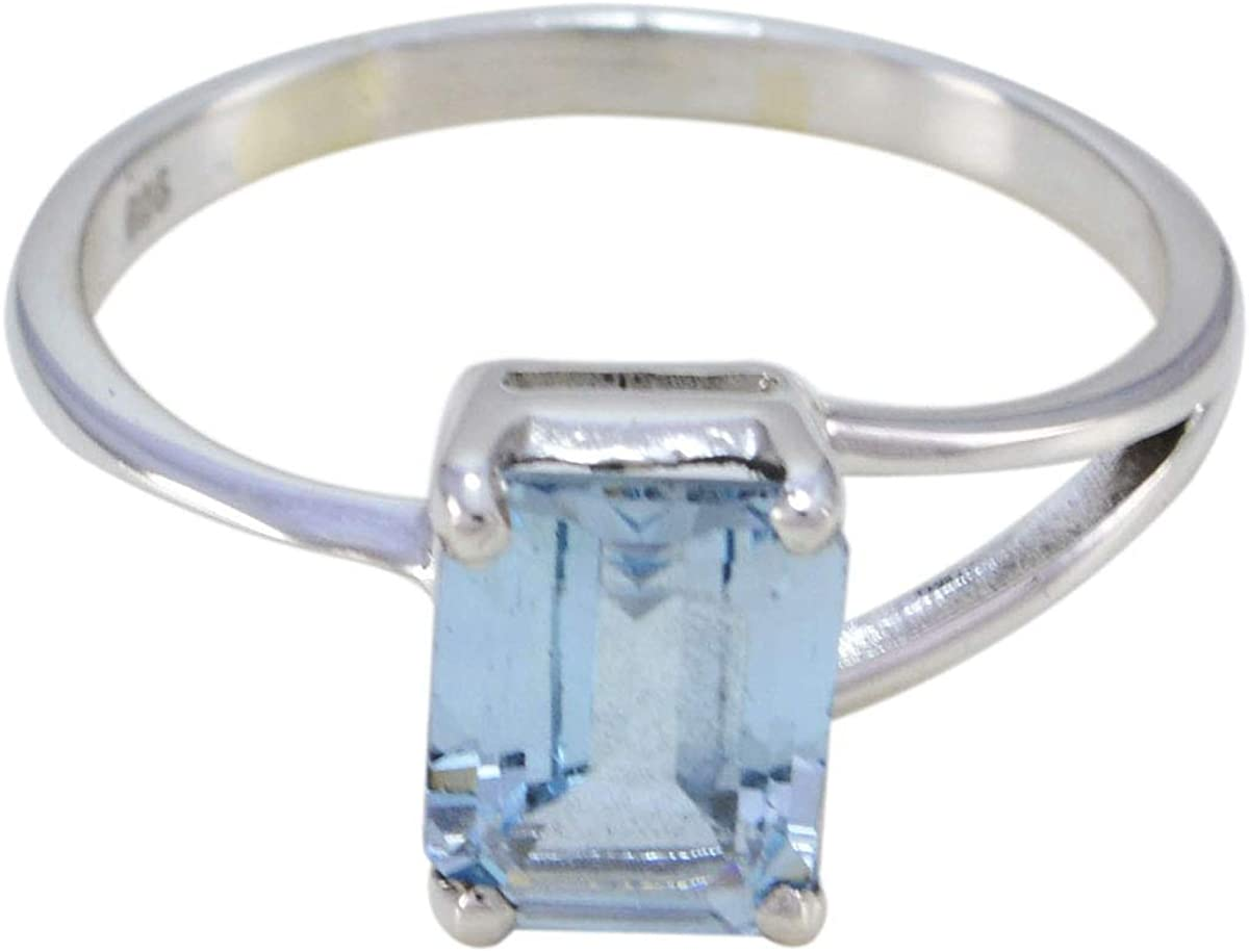 joyas plata buenas piedras preciosas forma de octágono una piedra anillo de topacio azul facetado - anillo de topacio azul de plata maciza - nacimiento de diciembre sagitario