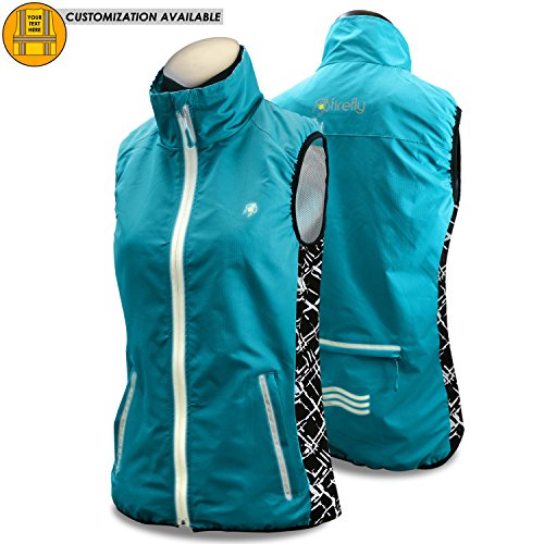 KwikSafety Firefly | Women All Year Racing Sport Vest | High Performance Recreational Sport Athletic Wear | 360° High Visibility Running Cycling Jogging Walking Skiing Sleeveless Jacket | Blue Small Athletic Windproof Vest