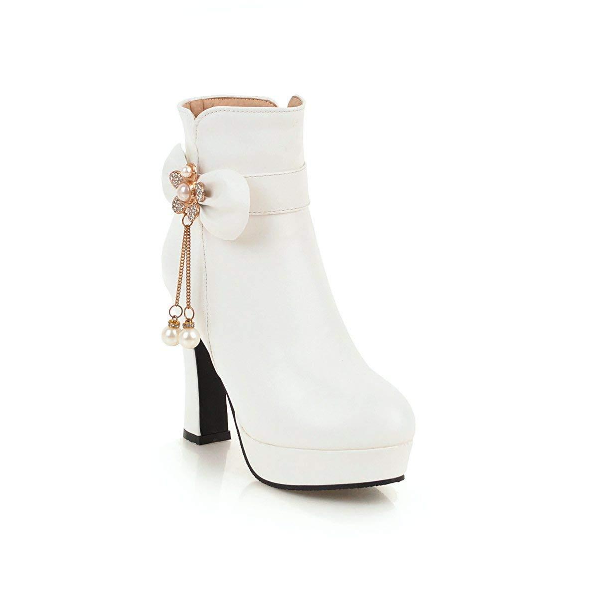 Hy 2018 Damenschuhe Herbst Winter Martins Stiefel Damen Strass Bowknot Super High Heel Stiefelies Stiefeletten Mode Stiefel Weiß Schwarz Rosa (Farbe   Weiß Größe   35)