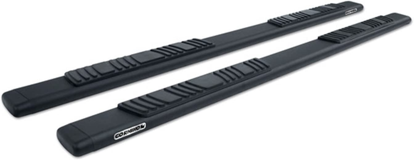 Complete Kit: Side steps, Brackets - Crew Cab Length Go Rhino 685404687T Black 5 OE Xtreme Low Profile Side Step for Chevrolet//GMC