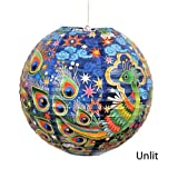 """Peacock"" Decorative Hanging Paper Lantern with Light Kit (Up to 40 Watt Bulb) - 13.75"" Diameter - With 15' Cord - Recycled Paper"