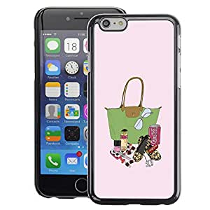 A-type Arte & diseño plástico duro Fundas Cover Cubre Hard Case Cover para iPhone 6 (Fashion Lady Bag Lipstick Purse Painting)