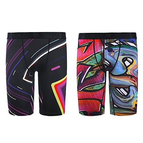 PIXIU Original Men's Underwear Modern Print Stretch Breathable 2 Pack 3 Pack Long Leg Boxer Brief